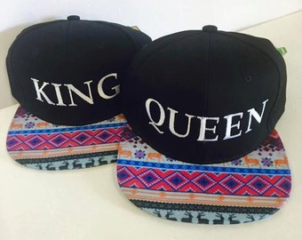 Custom Aztec King and Queen Snapback Pink Blue Colors Multicolor Snap Back