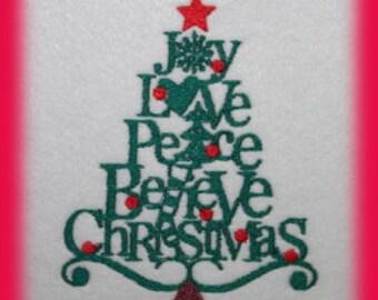 Christmas Tree Word Art  Digitized Machine Embroidery Design