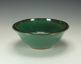 Stoneware pottery bowl set.  Large.  Green.  Ready to ship.