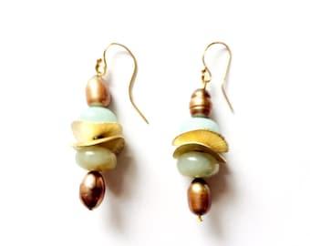 Amazonite earrings, Freshwater Pearl Earrings,  Mixed bead earrings, Dangle earrings, drop earrings, boho chic earrings, free shipping