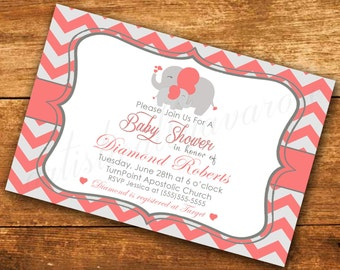Elephant Baby Shower Custom Digital Invitation