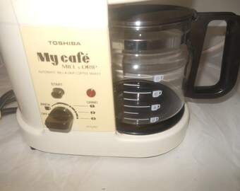 Vintage Toshiba, My Cafe Mill Drip Coffee Maker, Built in Coffee Grinder for Fresh Coffee Every Pot, HCD-801, coffee maker, vintage toshiba