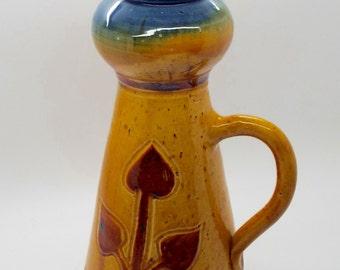 Antique Continental Art Nouveau Treacle Glazed Stoneware Vase w Handle
