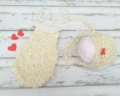 RTS Valentine's Day Newborn baby girl hand knitted Romper Overall and tieback/ Photography Prop