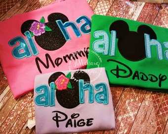 Aloha Custom embroidered Disney Inspired Vacation Shirts for the Family! 746