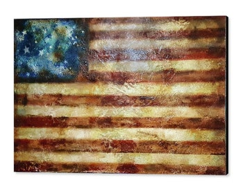 A Rustic American Flag, Original, Old Glory, Abstract Flag Painting, Distressed Flag, Large Canvas Decor, US Flag, Extra Large Wall Art, USA