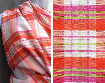 Vintage fabric | Destash fabric bright colored plaid cotton linen blend
