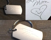 CUSTOM Handwriting Engraved | Artwork Engraved Keychain | Signature Keychain | Handwritten Keychain |Memorial |Signature | Fathers Day Gift