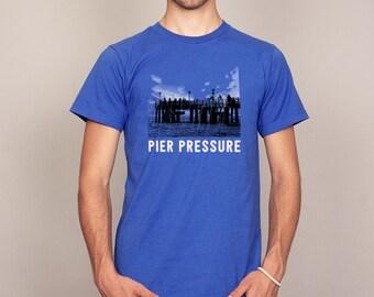 Pier Pressure Funny Fishing Druggy Geek T-shirt Royal Blue Men's Sizes