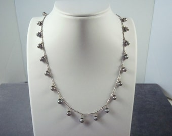 Sterling Silver Grey Pearl Necklace N7