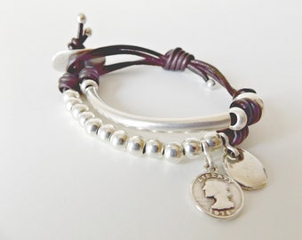 Bracelets for women, friendship bracelet, leather bracelet,  leather jewelry, beaded bracelet, uno de 50 style, wife gift