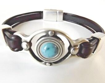 Turquoise, turquoise jewelry, turquoise bracelet, leather bracelet, western bracelet, bracelet homme, boho bracelet, boho jewelry, K1927