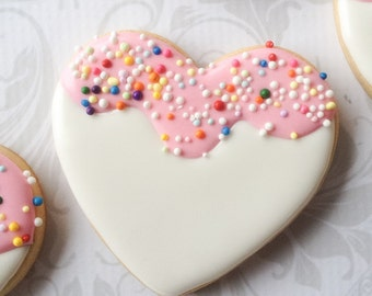 Sprinkled Heart Decorated Cookies - One Dozen Decorated Sugar Cookies