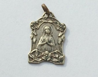 Antique religious large silvered Blessed Mary medal pendant