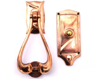 Antique Copper Art Nouveau Door Knocker and Doorbell Matching Set