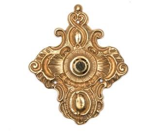 Antique Ornate Baroque Doorbell Pushbutton Brass Electric Buzzer