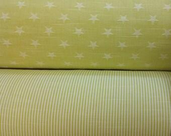 Star stripes woven Lemon sorbet yellow nursery 100% Cotton Upholstery Curtain Fabric