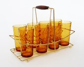 Retro Glass Tumblers with Brass Caddy Orange Drinking Glasses
