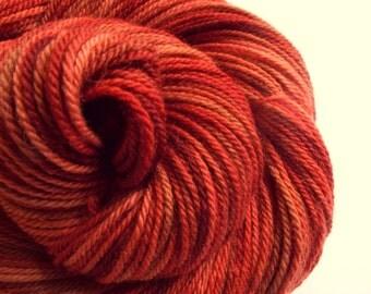 Red sock yarn, double knit wool, merino yarn, hand dyed wool- 200 meters