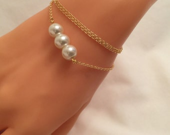Ivory Glass Pearl Bracelet&Necklace,Bridesmaid Jewelry,Pearl Necklace,Wedding Jewelry,Bridal Pearl Jewelry,Gift for Her