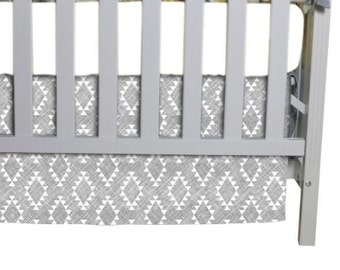 Flat Crib Skirt in Gray Aztec fabric, You pick 3 or 4 sided skirt.  Always FREE shipping in Continental US!