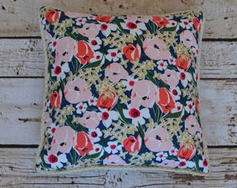 Decorative Pillow from Emma's Metallic gold,navy, and peach floral bedding collection