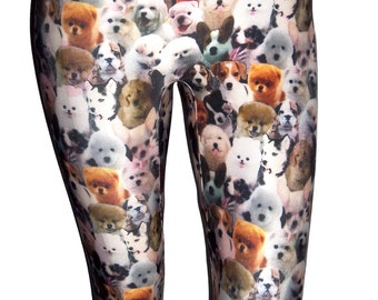 Youth Puppies Leggings, Dog Leggings, Girls Leggings, Printed Leggings, Yoga Pants, Running Pants