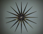 Massive 36 inch STARBURST CLOCK key wind movement by Harris and Mallow dated 1958
