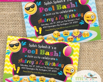 Emoji, Emoticons, Emojis pool party printable invitation, not a instant download, pool bash.