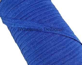"Royal Blue Glitter Sparkle FOE - Fold Over Elastic - 5/8"" No Flake Sparkly Foe Headbands - Hair Ties Shiny Satin Elastic - No Flake"
