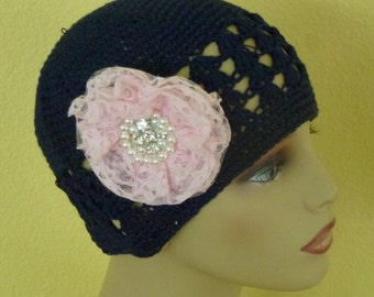 Chemo Navy Blue Crocheted Hat with Large Pink Lace Flower, Navy Blue Chemo Hat with Pink Chiffon Flowers