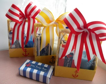 Beach candle and soap set small gift  / Coast Nautical Yellow and Blue and Red gift basket / Seaside  soap