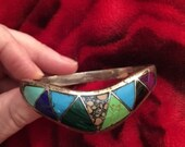 Mexico Taxco Sterling Silver Inlay Clamper Bracelet