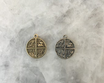 Four Elements Charm, Gold or Silver, Wind- Water- Land- Fire, 2 Sided, Yoga, Inspirational, Round, Pewter
