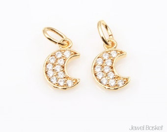 Cubic Crescent Beads in Gold / 10.0mm x 6.5mm / CG050-P (2pcs)