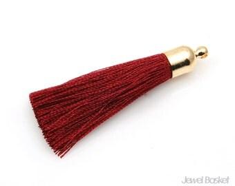 MARKDOWN - Burgundy Thread Tassel with Gold Cap - Medium / 8mm x 48mm / EBGG003-T (2pcs)