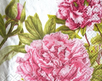 Paper Napkins PINK PEONY GARDEN 3pcs Beverage Size Napkins Pink Flowers Green Leaves White Background Mixed Media Decoupage Crafts