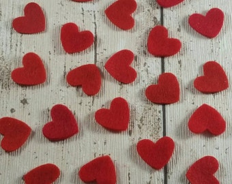 Red Felt Heart shapes die cut, ideal size for wedding table confetti or for crafting, Valentines, Anniversary, card making