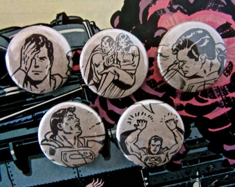 Superman (Super Man) - Upcycled 1970's Vintage Comic Book Button Badge Set.