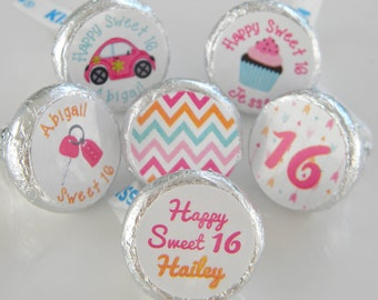 Sweet 16 Party Favors - Sweet 16 Hershey Kisses -  16th Birthday Hershey Kiss Stickers - Sweet 16 Decor - 16th Birthday Party Favors