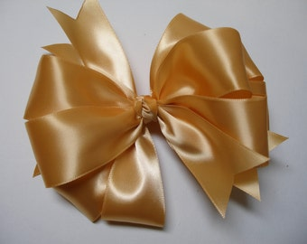 BIG Large Solid U Pick Color Dressy Satin JUMBO Hair Bow Mustard Gold Toddler Girl Classic Traditional Style Photo Prop
