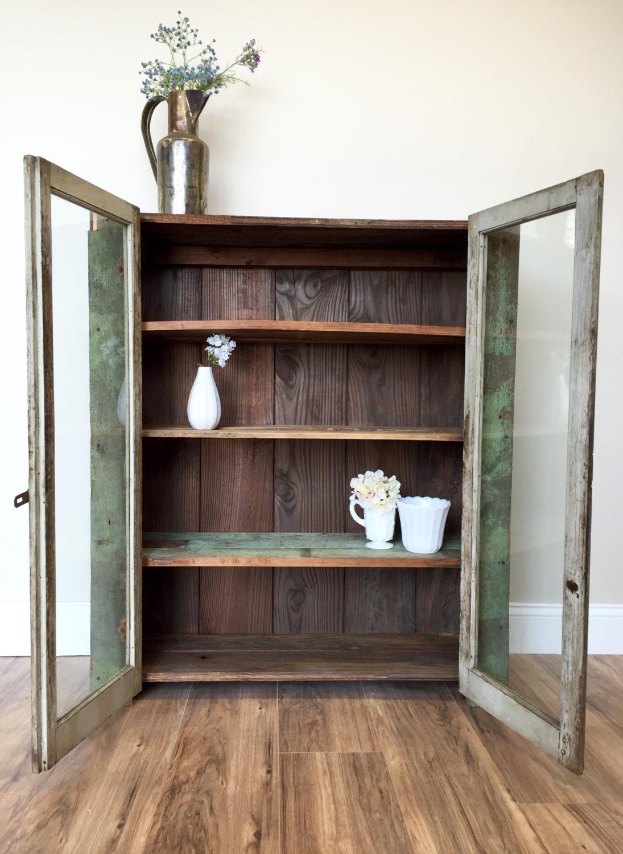 Primitive Cabinet Jelly Cupboard Farmhouse Furniture Pie Safe Glass D