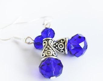 Blue crystal beaded unique women handmade earrings