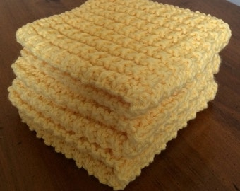Hand Knit Cotton Dish Cloths Set of 3 - Yellow
