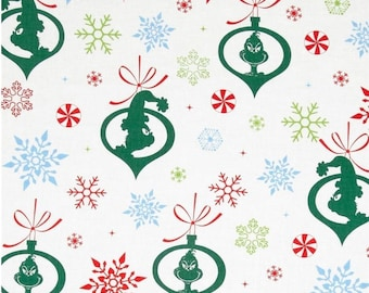 Grinch Ornaments in Holiday - Robert Kaufman - Fat Quarter, Half Yard, or More