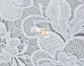 Carnation Embossed 3D Floral Guipure Dress Lace Fabric - WHITE - Sold By Yard Gown