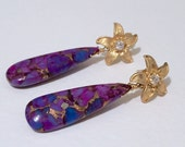Purple Copper Turquoise  and CZ Drop Earrings by KarenWhalenDesigns