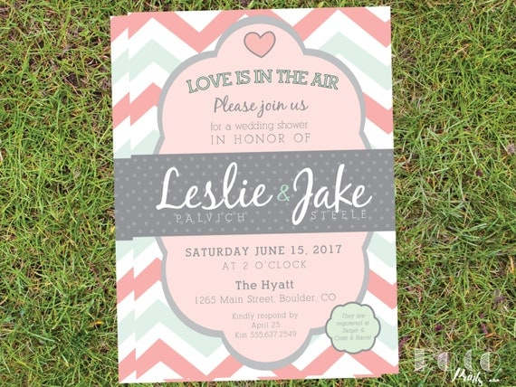 Chevron Love Is In The Air Pink and Mint Green Printable Wedding Shower Invitation