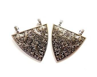 2 Antique Silver Art Nouveau Pendant/Connectors - 1-26