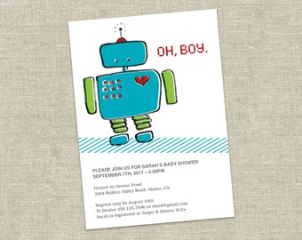 Robot Baby Shower Invitation Printable